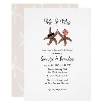 two starfish mr. and mrs. couples shower invitatio invitation