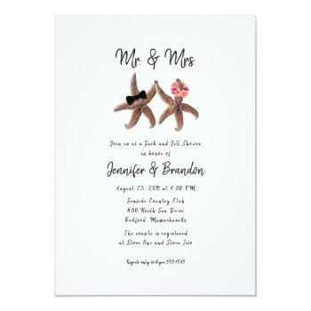 Small Two Starfish Mr. And Mrs. Couples Shower Invitatio Invitation Front View