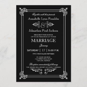 typography art deco vintage wedding invitation