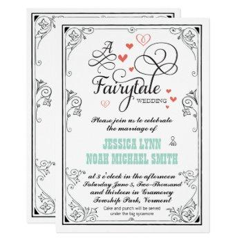 typography hearts mint and coral fairytale wedding invitation