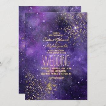 ultraviolet wedding   glam starry night invitation