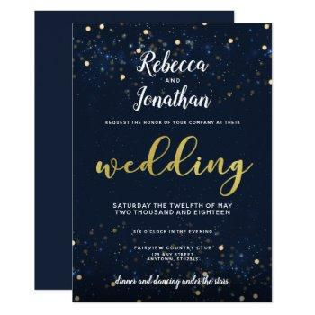 under the stars navy and gold wedding invitation