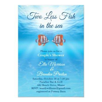 underwater two less fish in the sea couple's showe invitation