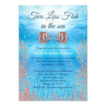 Small Underwater Two Less Fish In The Sea Post Wedding Invitation Front View