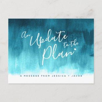 update to plan aqua wash heart wedding cancelled announcement postcard
