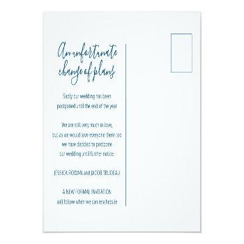 Small Update To Plan Blue White Heart Wedding Cancelled Announcement Postcard Back View