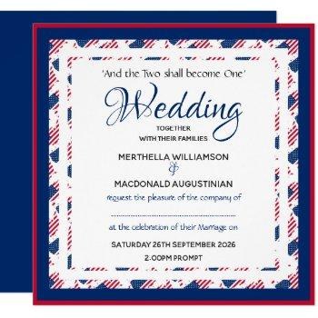 usa america flag custom patriotic square wedding invitation