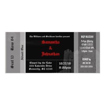 vampire castle goth wedding ticket invitations