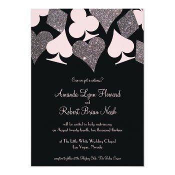 vegas wedding black pink and silver faux glitter invitation