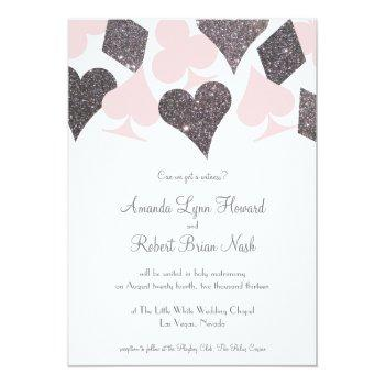 vegas wedding blush pink and silver faux glitter invitation