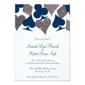 vegas wedding navy blue silver faux glitter invitation