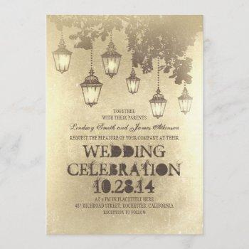 victorian lanterns wedding invitations