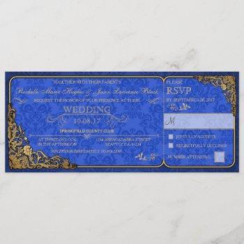 victorian wedding ticket invitation (royal blue)