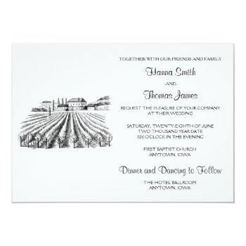 vineyard winery theme wedding invitation