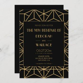 vintage 1920s art deco wedding vow renewal invitation