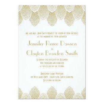 vintage 20's art deco scallop white gold wedding invitation