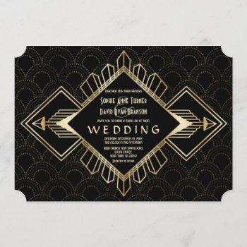vintage 20s gold black great gatsby wedding invitation