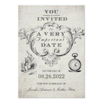 Small Vintage Alice In Wonderland Wedding Invitation Front View