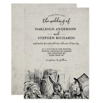 vintage alice in wonderland wedding invitation