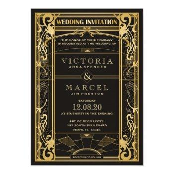 vintage art deco great gatsby 1920s wedding invitation