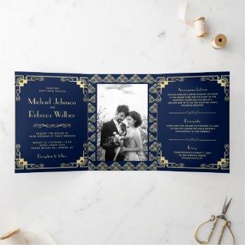 vintage art deco style blue and gold wedding tri-fold invitation