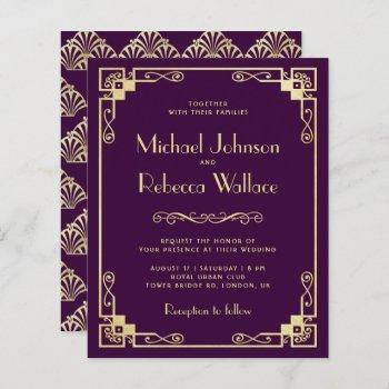 vintage art deco style budget wedding invitation