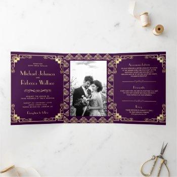 vintage art deco style purple and gold wedding tri-fold invitation