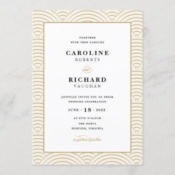 vintage art deco wedding invitation ivory gold