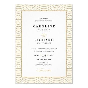 vintage art deco wedding invitation ivory gold