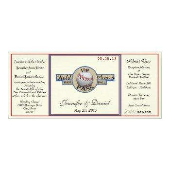 vintage baseball pass wedding invitation