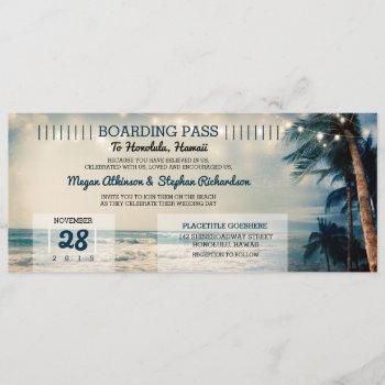 vintage beach wedding boarding pass ticket wedding invitation