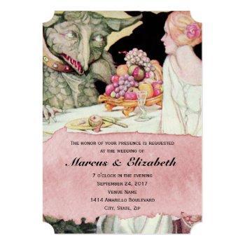 vintage beauty and the beast wedding invitation