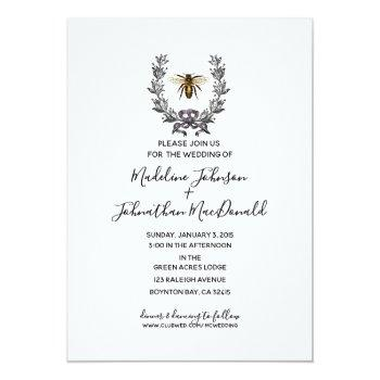Small Vintage Bee Spring Garden Wedding Plum Yellow Invitation Front View