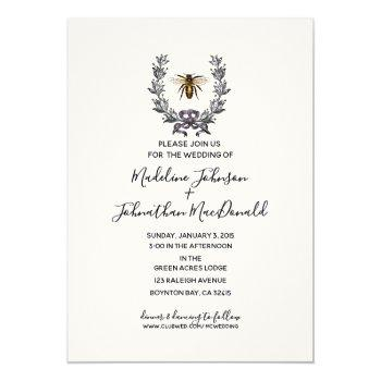 vintage bee spring garden wedding plum yellow invitation