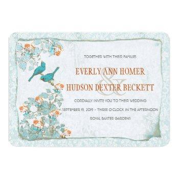 vintage birds turquoise and orange damask wedding invitation