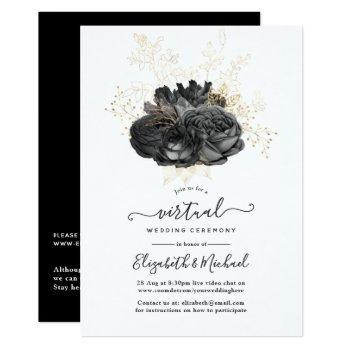 vintage black and gold floral virtual wedding invitation
