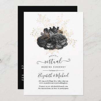 vintage black and gold floral virtual wedding invitation