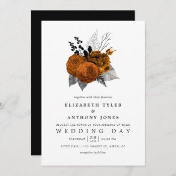 vintage black and orange halloween floral wedding invitation