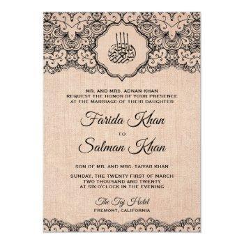vintage black lace rustic burlap islamic wedding invitation