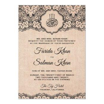 vintage black lace rustic burlap islamic wedding invitation