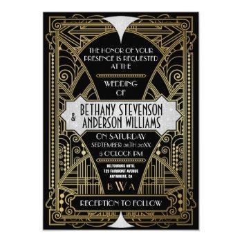 vintage black silver art deco wedding invitations