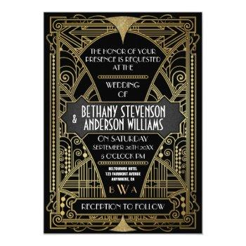 vintage black & white art deco wedding invitations