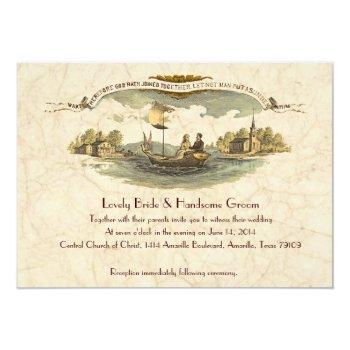 Small Vintage Boat Lovers Wedding Invitation Front View