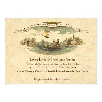 vintage boat lovers wedding invitation--discount invitation