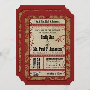 vintage broadway poster movie ticket wedding invitation
