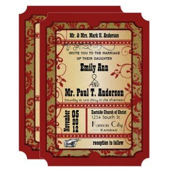 vintage broadway red and gold movie ticket wedding invitation