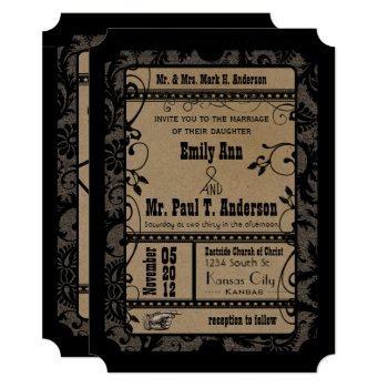 vintage broadway rustic movie ticket wedding invitation