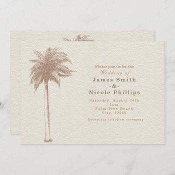 vintage brown palm tree beach wedding invitations