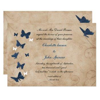 vintage butterfly wedding  invitations