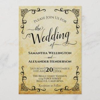vintage calligraphy faux parchment elegant wedding invitation